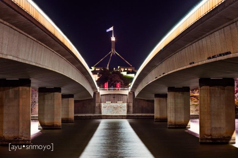 between the two bridges